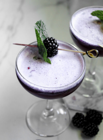 Blackberry Mint Bourbon Sour